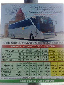 TImetable photo Trapani airport to Palermo airport