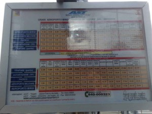 foto of timetable trapani airport to trapani town centre.