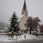Arabba church in the snow